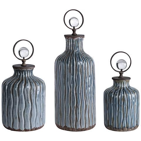 Uttermost Mathias Gray-Blue Glaze Ceramic Vessel Set of 3