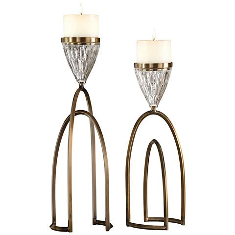 Carma Bronze and Clear Glass Pillar Candle Holder Set of 2