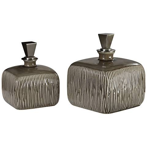 Cayson Raw Umber Brown Ribbed Ceramic Bottle Set of 2