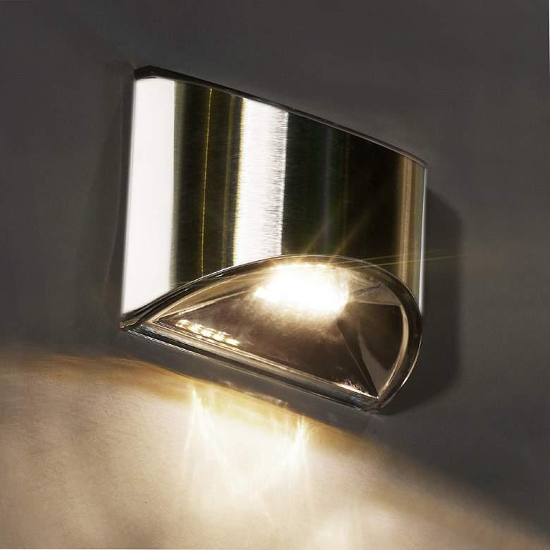 "Stainless Steel 3 1/4"" High Solar LED Outdoor Deck Light"