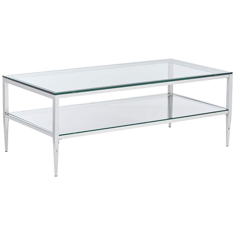 "Tanika 48"" Wide Chrome and Glass Rectangular Coffee Table"