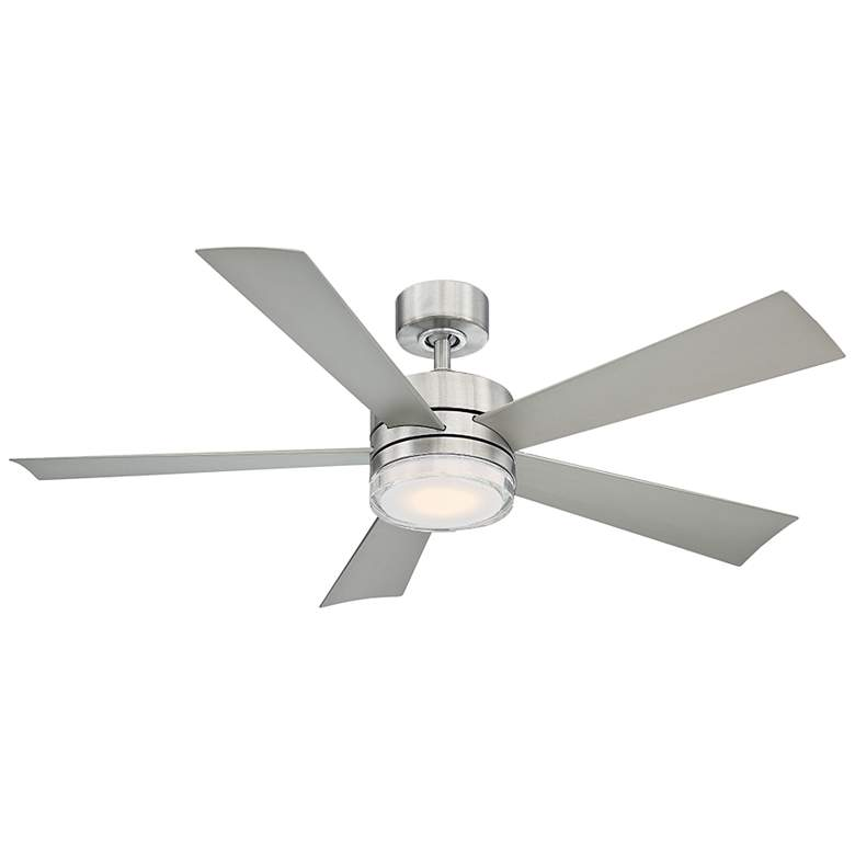 """52"""" Modern Forms Wynd Stainless Steel LED Wet Rated Ceiling Fan"""