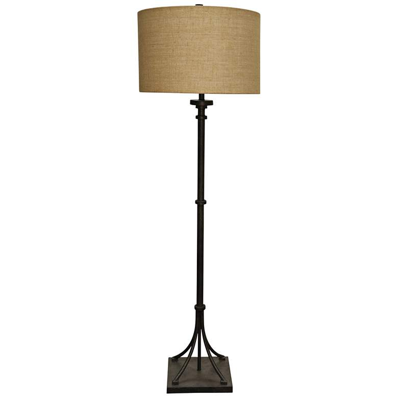 Industrial Bronze Floor Lamp w/ Beige Hardback Fabric Shade