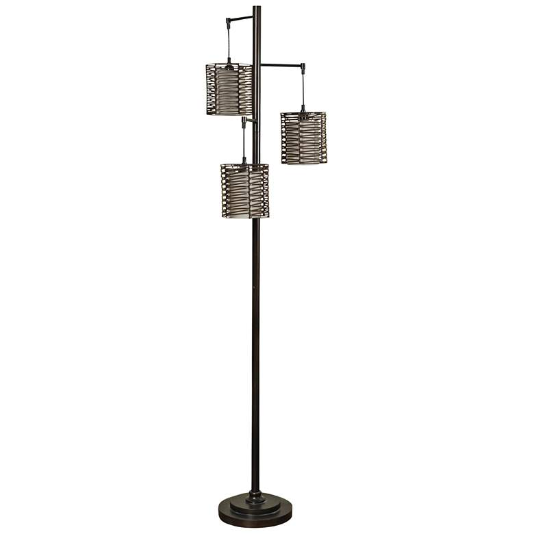 Bronze 3-Light Floor Lamp with Brown Rattan Hardback Shade