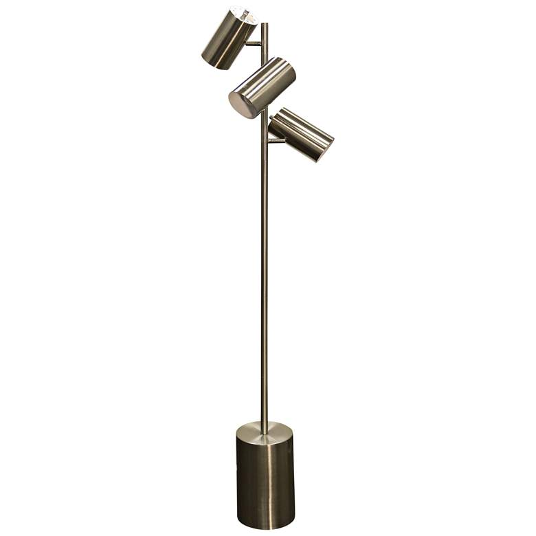Brass Steel 3-Light LED Floor Lamp with Brushed Steel Shade