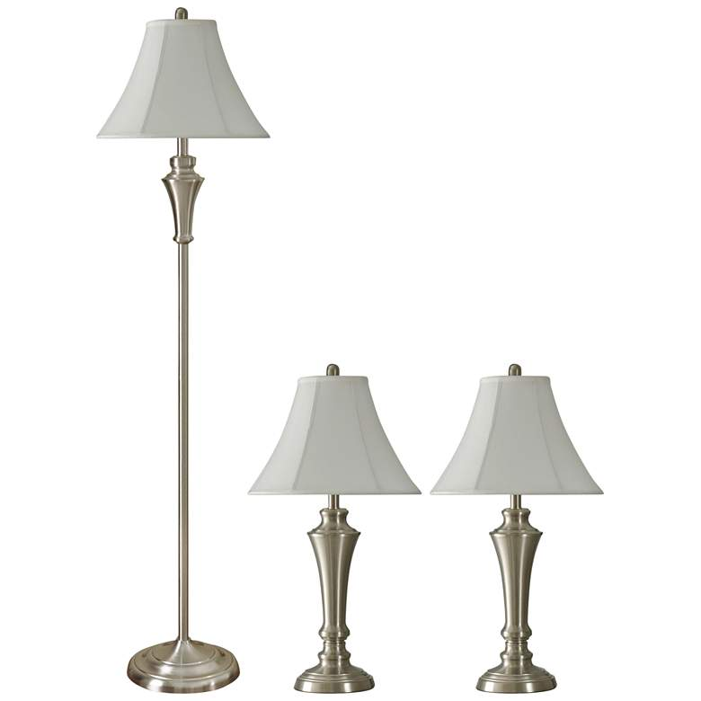 Geneva White Brushed Steel 3-Piece Floor and Table Lamp Set