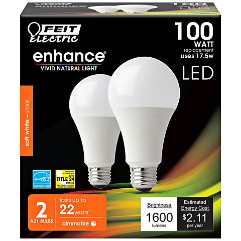 100W Equivalent 17.5W LED Dimmable Bulb 2-Pack