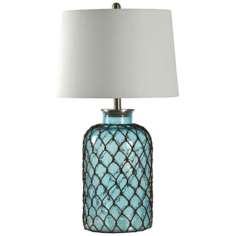 Montego Bay Blue Table Lamp with Off-White Fabric Shade
