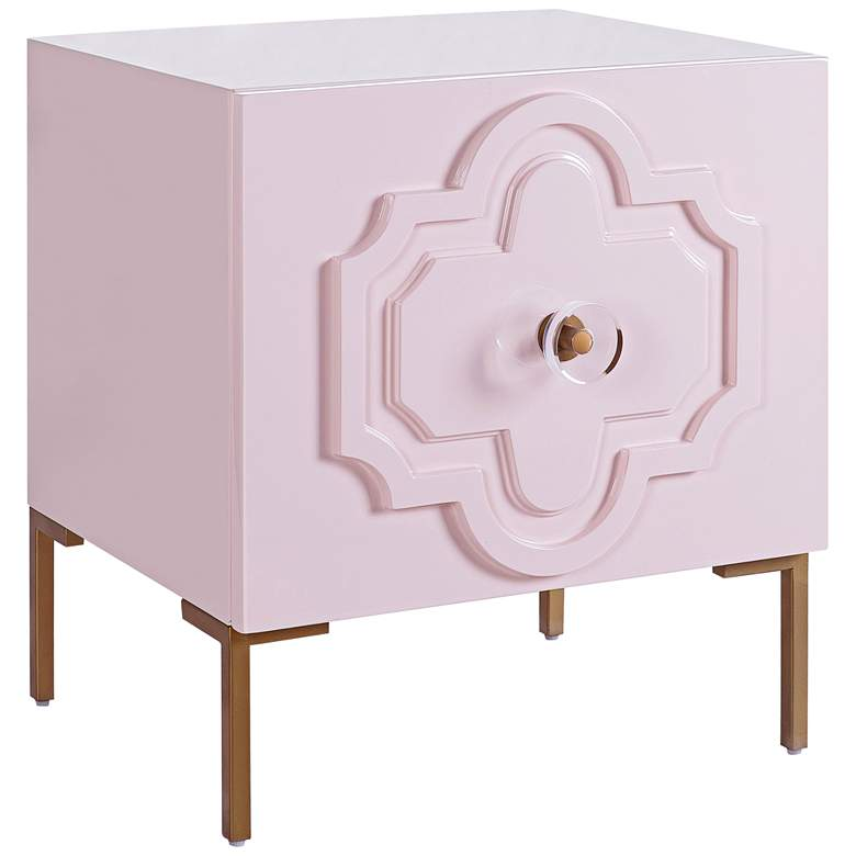 Anna Pink Lacquer 1-Door Side Table