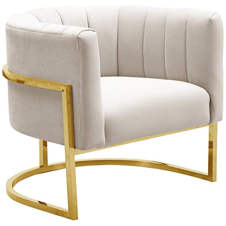 Magnolia Spotted Cream Velvet and Gold Armchair