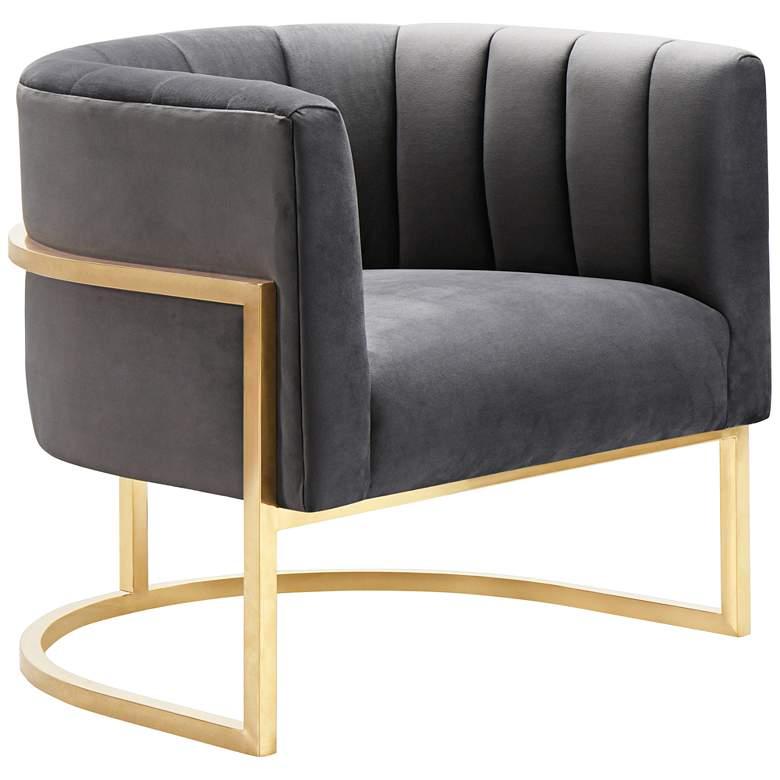 Magnolia Gray Velvet and Gold Armchair