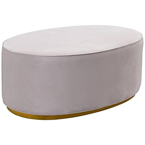 Scarlett Blush Gray Velvet Oval Ottoman