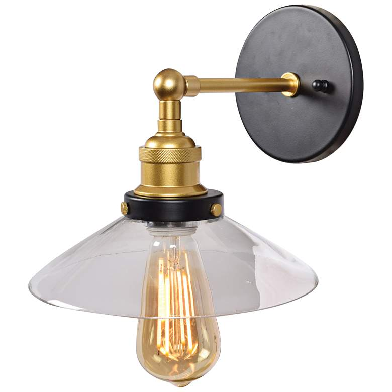 """The District 8 1/2"""" High Black and Gold LED Wall Sconce"""