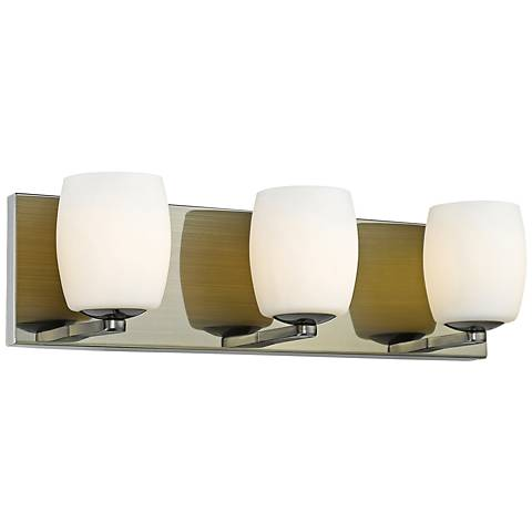 "Serenity 19"" Wide Antique Brass 3-Light Bath Light"