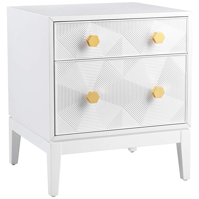 Mila White Lacquer 2-Drawer Side Table