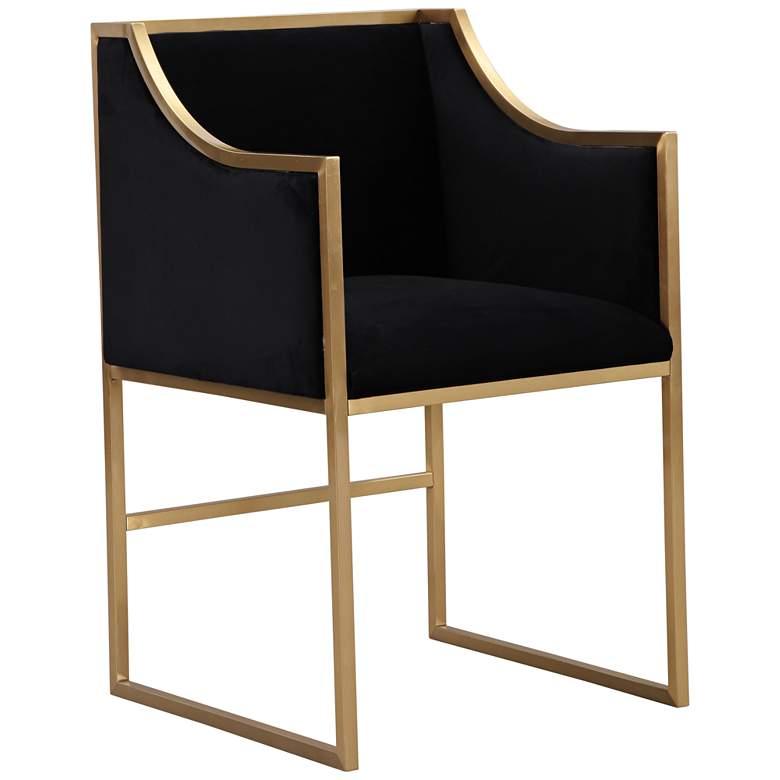 Atara Black Velvet and Gold Armchair
