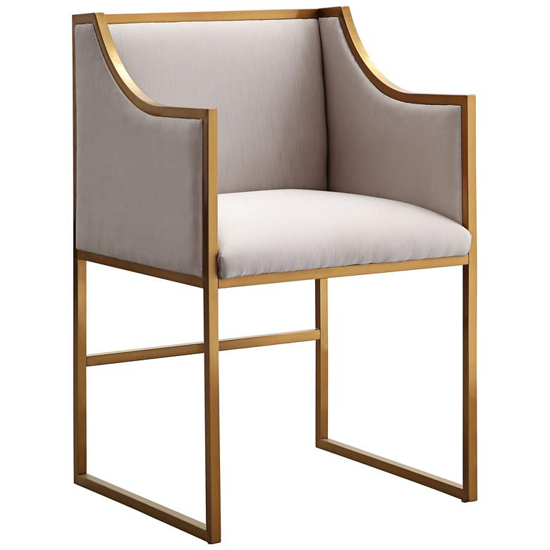 Atara Cream Velvet and Gold Armchair