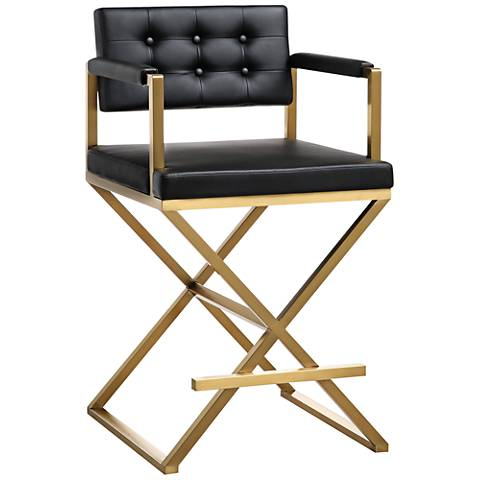 "Director 26"" Black Vegan Leather Counter Stool"