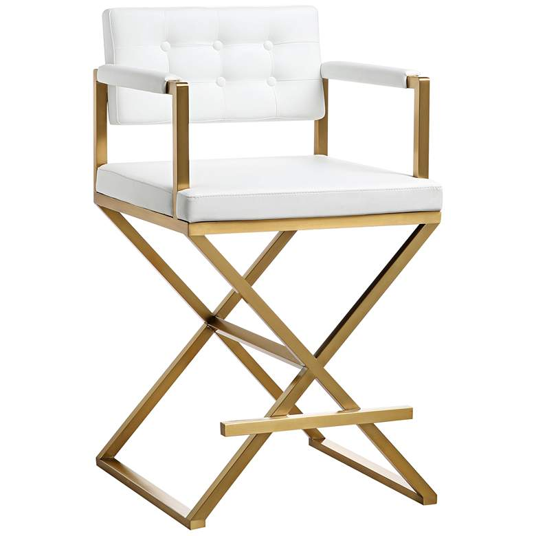 """Director 26"""" White Vegan Leather Counter Stool"""