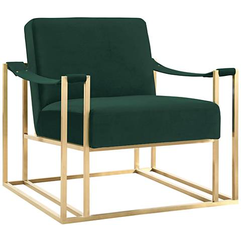 Baxter Forest Green Velvet Armchair