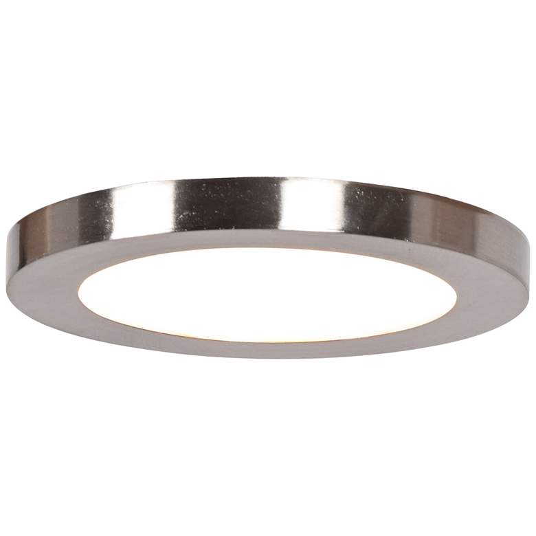 """Disc 5 1/2"""" Wide Brushed Steel Round LED Ceiling Light"""