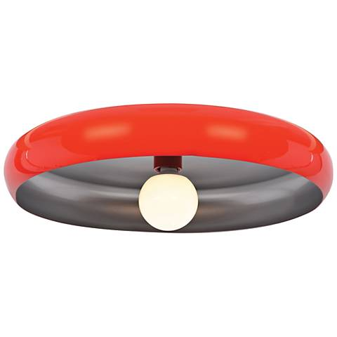"""Bistro 23 3/4"""" Wide Red and Silver LED Ceiling Light"""
