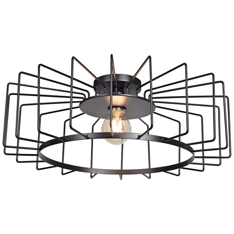 """Wired 23 1/4"""" Wide Black LED Ceiling Light"""