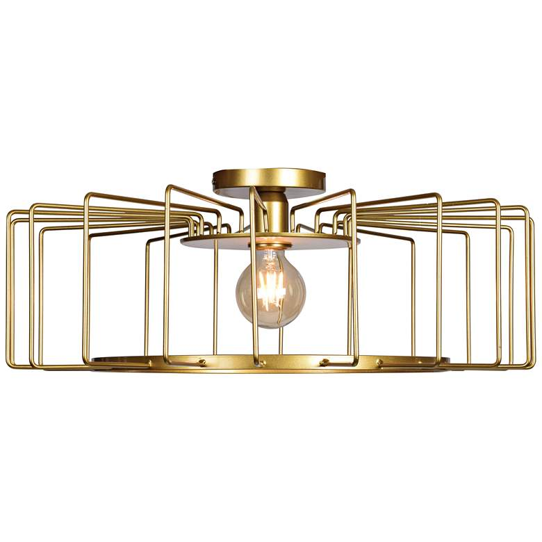 """Wired 23 1/4"""" Wide Gold LED Ceiling Light"""