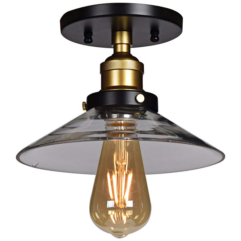 "The District 8 1/2"" Wide Black and Gold LED Ceiling Light"