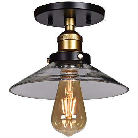 """The District 8 1/2"""" Wide Black and Gold LED Ceiling Light"""