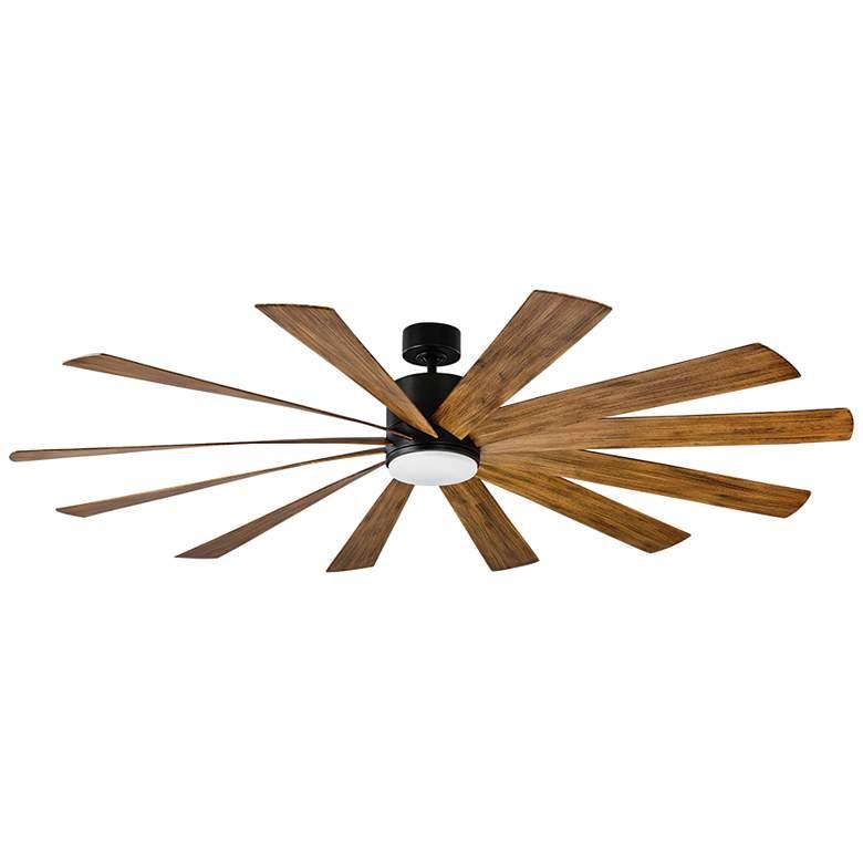 """80"""" Modern Forms Windflower Matte Black LED Wet Ceiling Fan"""