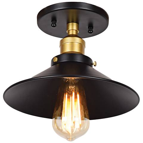 """The District 9 1/2"""" Wide Black and Gold LED Ceiling Light"""