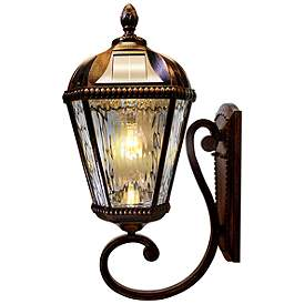 Royal Bulb 21 H Brushed Bronze Solar Led Outdoor Wall Light