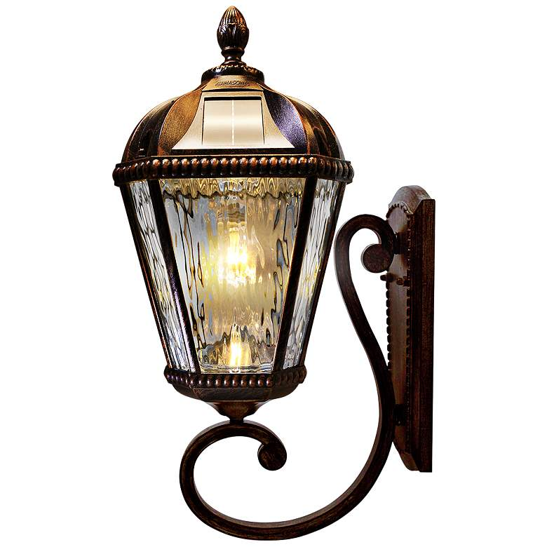 """Royal Bulb 21""""H Brushed Bronze Solar LED Outdoor Wall Light"""