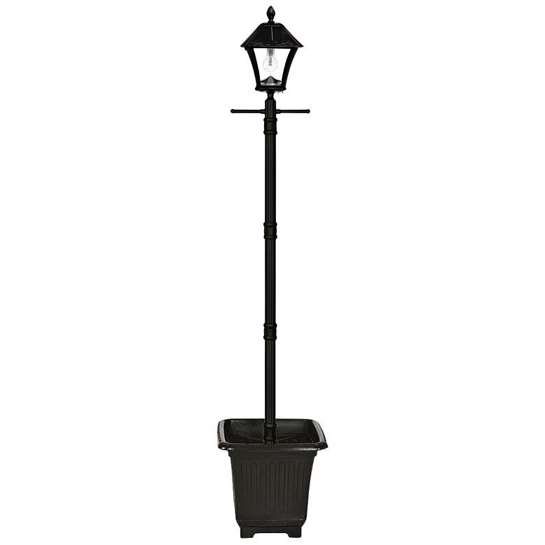 "Baytown 77""H Bronze Solar LED Outdoor Post Light w/ Planter"