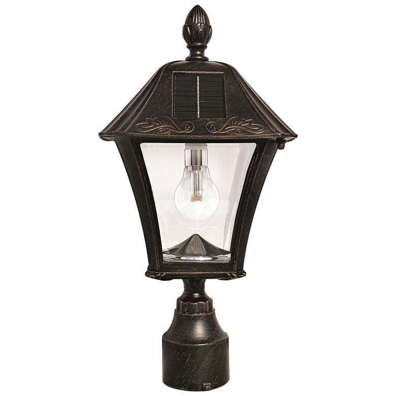 "Baytown 17"" High Brushed Bronze Solar LED Outdoor Post Light"