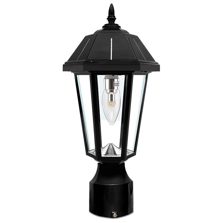 """Topaz 15 1/2"""" High Black Solar LED Outdoor Post Light"""