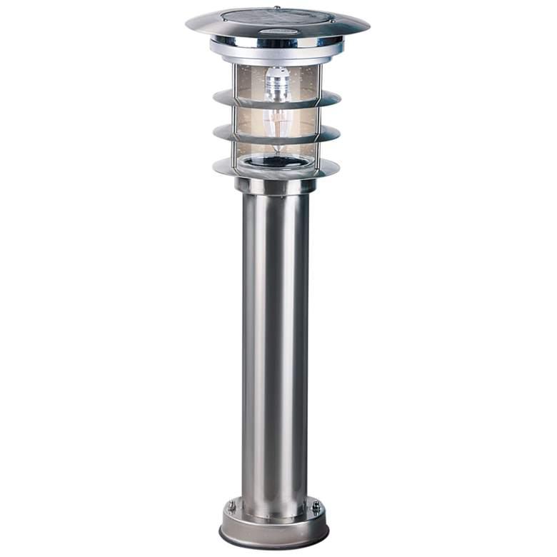 "Bollard 24 1/4""H Silver Solar LED EZ Anchor"