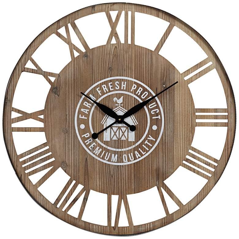 "Farm Fresh 31 1/2"" Round Roman Numeral Wood Wall Clock"