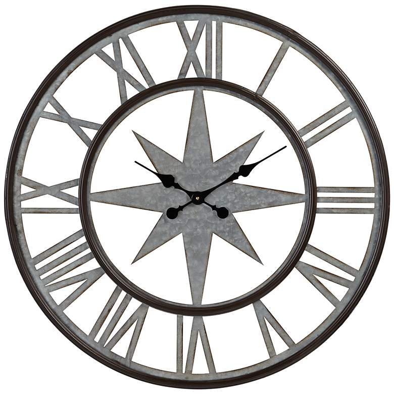 "Northern Star 30"" Round Silver and Black Wall Clock"