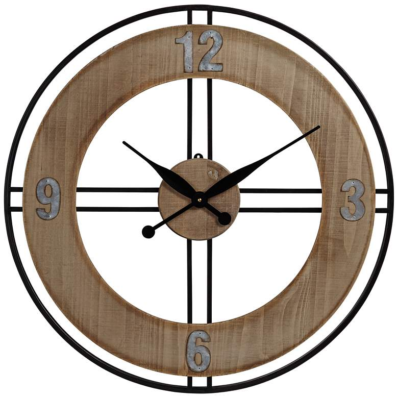 "Addie 26"" Round Wood and Metal Wall Clock"