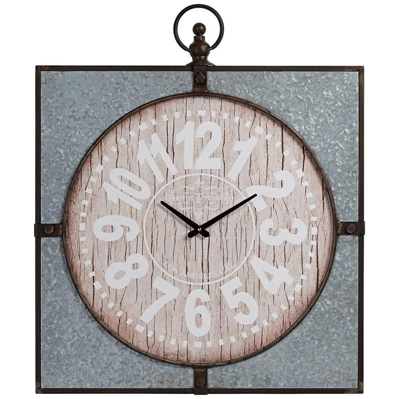 """Hotel Hayward 33"""" High Wood and Metal Wall Clock"""