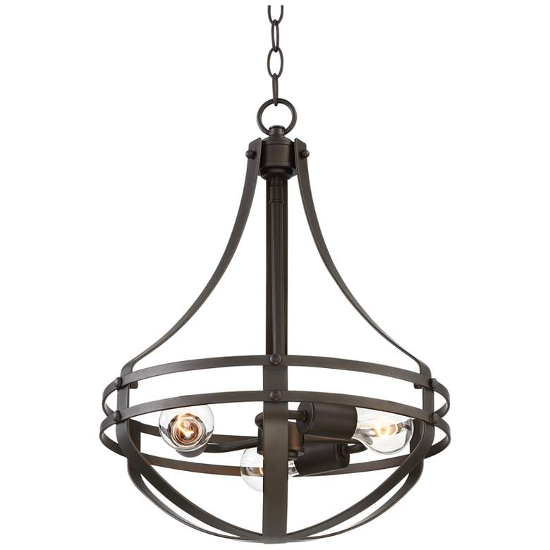 "Stanford 16"" Wide Bronze 3-Light Bowl Pendant"