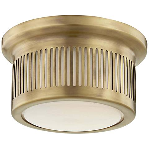 "Hudson Valley Bangor 6"" Wide Aged Brass LED Ceiling Light"