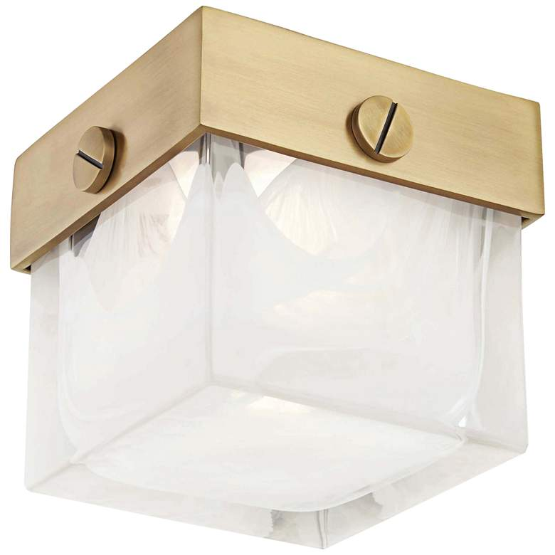 """Hudson Valley Petty 5"""" Wide Aged Brass LED Ceiling Light"""