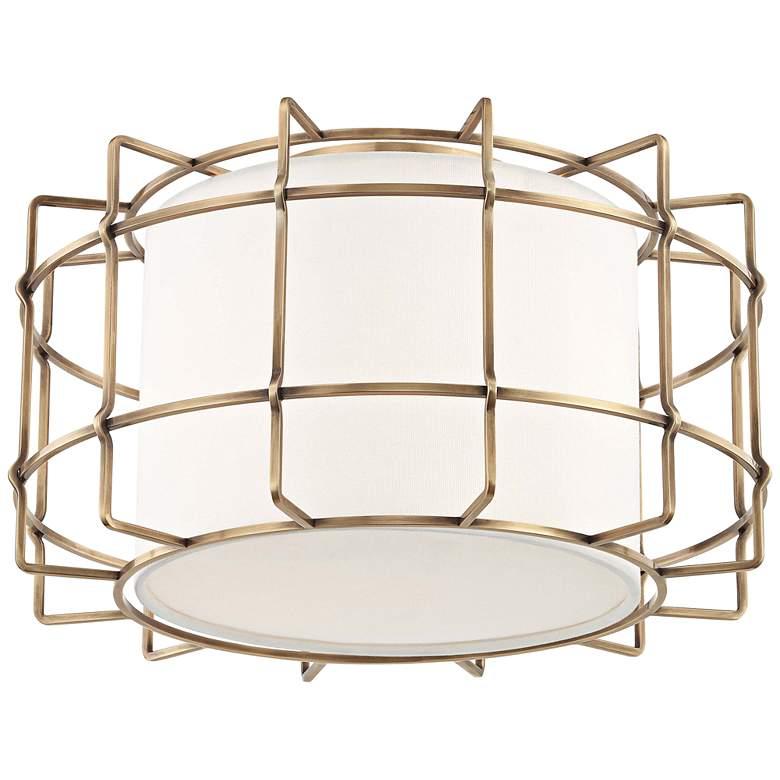 """Hudson Valley Sovereign 16""""W Aged Brass LED Ceiling Light"""
