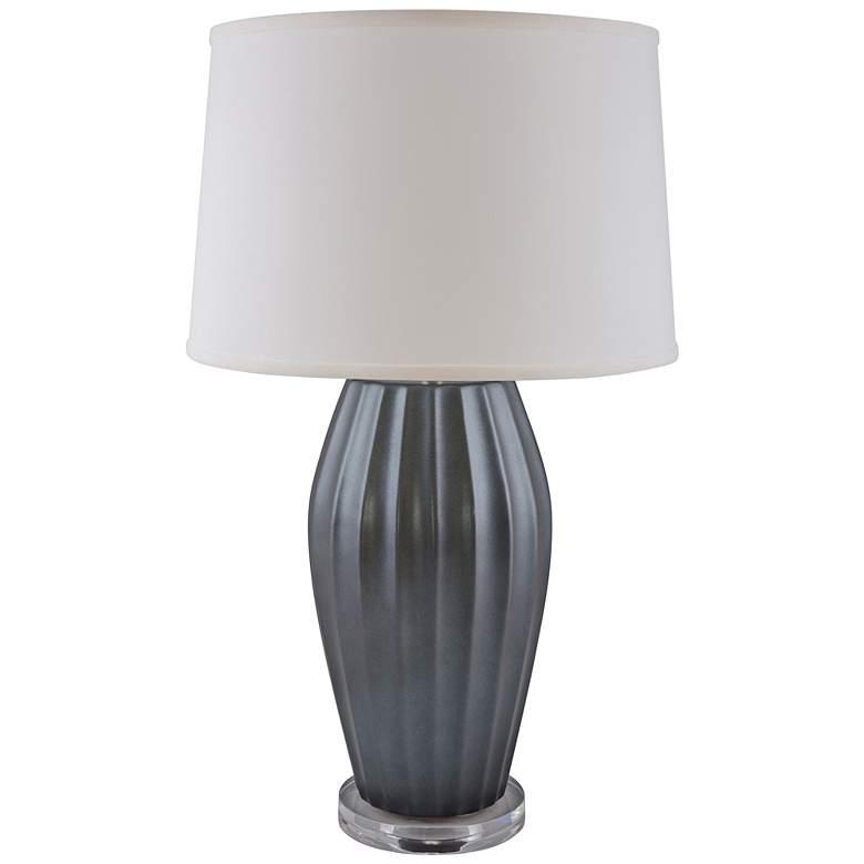 RiverCeramic Ribbed Gloss Charcoal Table Lamp