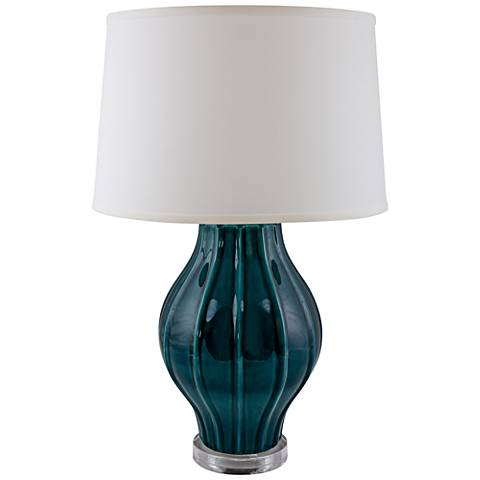 RiverCeramic Large Fluted Tropical Turquoise Table Lamp