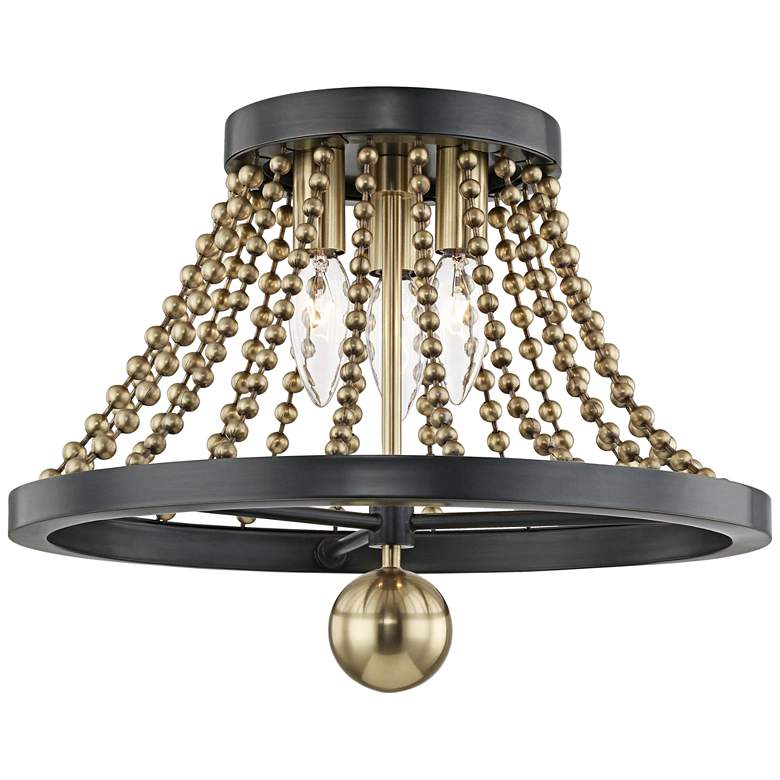 "Hudson Valley Spool 14 1/4"" Wide Brass 3-Light"