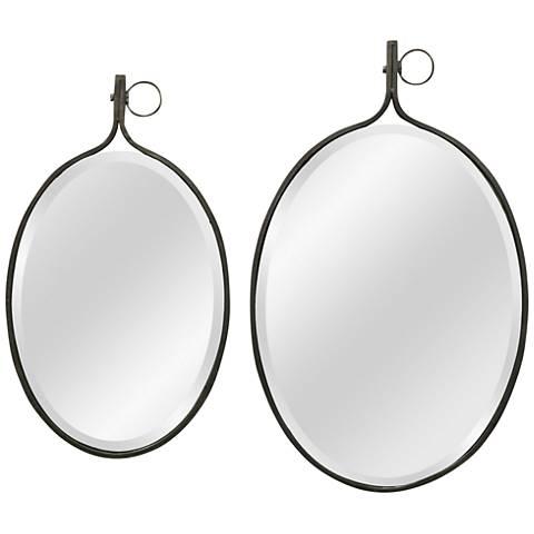 """Metal Frame 17"""" x 28"""" Beveled Wall Mirror Set of 2"""